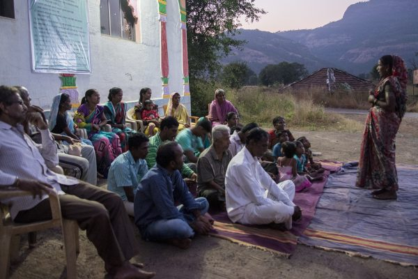 Village committee meeting with their women panchayat leader